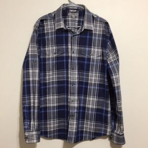 Express, men's plaid fitted shirt size LG